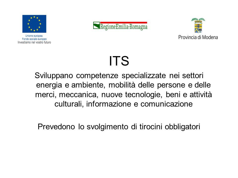 ITS Sviluppano competenze specializzate nei settori energia e ambiente, mobilità delle persone e delle merci, meccanica, nuove tecnologie, beni e attività culturali, informazione e comunicazione Prevedono lo svolgimento di tirocini obbligatori