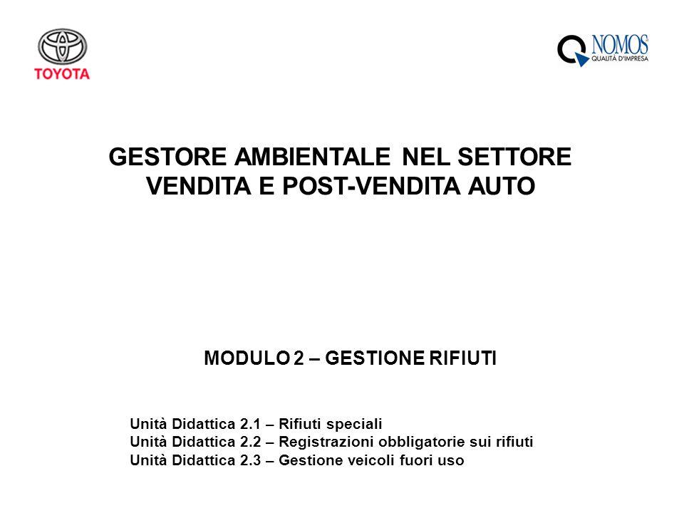 GESTORE AMBIENTALE NEL SETTORE VENDITA E POST-VENDITA AUTO MODULO 2 – GESTIONE RIFIUTI Unità Didattica 2.1 – Rifiuti speciali Unità Didattica 2.2 – Re