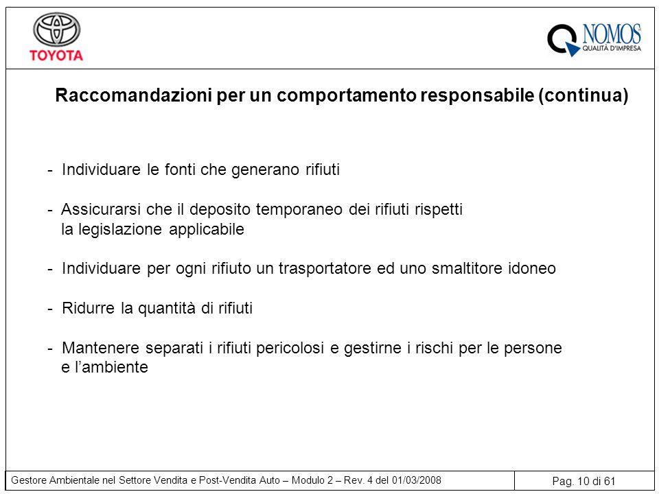 Pag. 10 di 61 Gestore Ambientale nel Settore Vendita e Post-Vendita Auto – Modulo 2 – Rev. 4 del 01/03/2008 Raccomandazioni per un comportamento respo