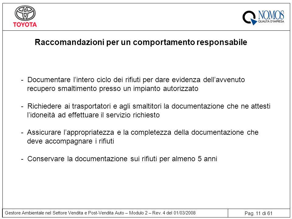 Pag. 11 di 61 Gestore Ambientale nel Settore Vendita e Post-Vendita Auto – Modulo 2 – Rev. 4 del 01/03/2008 Raccomandazioni per un comportamento respo