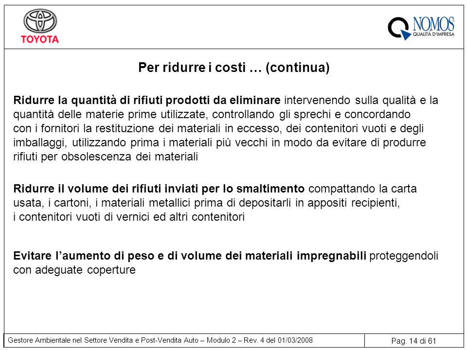 Pag. 14 di 61 Gestore Ambientale nel Settore Vendita e Post-Vendita Auto – Modulo 2 – Rev. 4 del 01/03/2008 Per ridurre i costi … (continua) Ridurre l