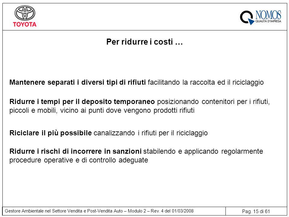 Pag. 15 di 61 Gestore Ambientale nel Settore Vendita e Post-Vendita Auto – Modulo 2 – Rev. 4 del 01/03/2008 Per ridurre i costi … Ridurre i rischi di