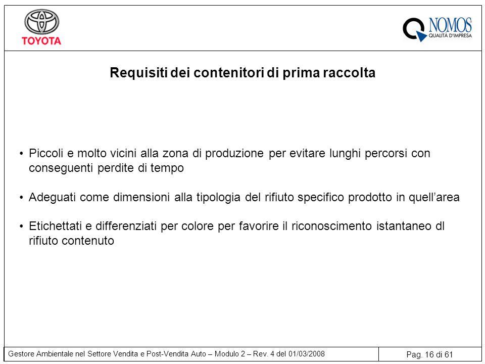 Pag. 16 di 61 Gestore Ambientale nel Settore Vendita e Post-Vendita Auto – Modulo 2 – Rev. 4 del 01/03/2008 Requisiti dei contenitori di prima raccolt