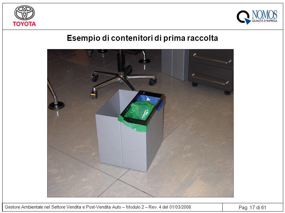 Pag. 17 di 61 Gestore Ambientale nel Settore Vendita e Post-Vendita Auto – Modulo 2 – Rev. 4 del 01/03/2008 Esempio di contenitori di prima raccolta