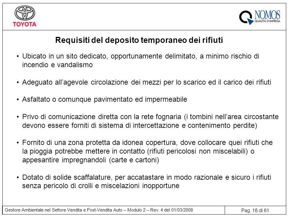 Pag. 18 di 61 Gestore Ambientale nel Settore Vendita e Post-Vendita Auto – Modulo 2 – Rev. 4 del 01/03/2008 Requisiti del deposito temporaneo dei rifi