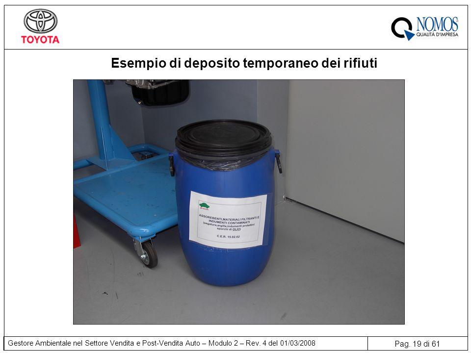 Pag. 19 di 61 Gestore Ambientale nel Settore Vendita e Post-Vendita Auto – Modulo 2 – Rev. 4 del 01/03/2008 Esempio di deposito temporaneo dei rifiuti