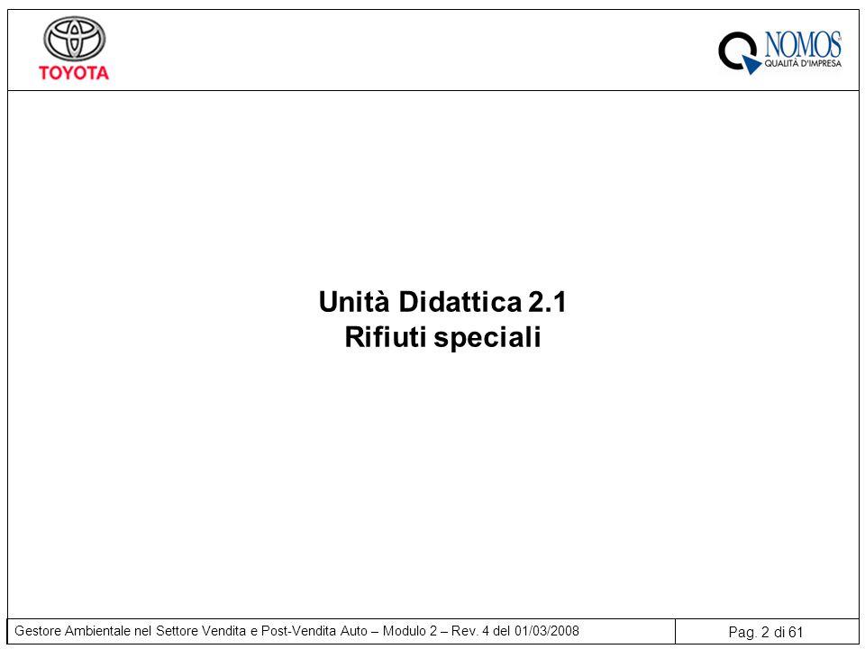 Pag. 2 di 61 Gestore Ambientale nel Settore Vendita e Post-Vendita Auto – Modulo 2 – Rev. 4 del 01/03/2008 Unità Didattica 2.1 Rifiuti speciali