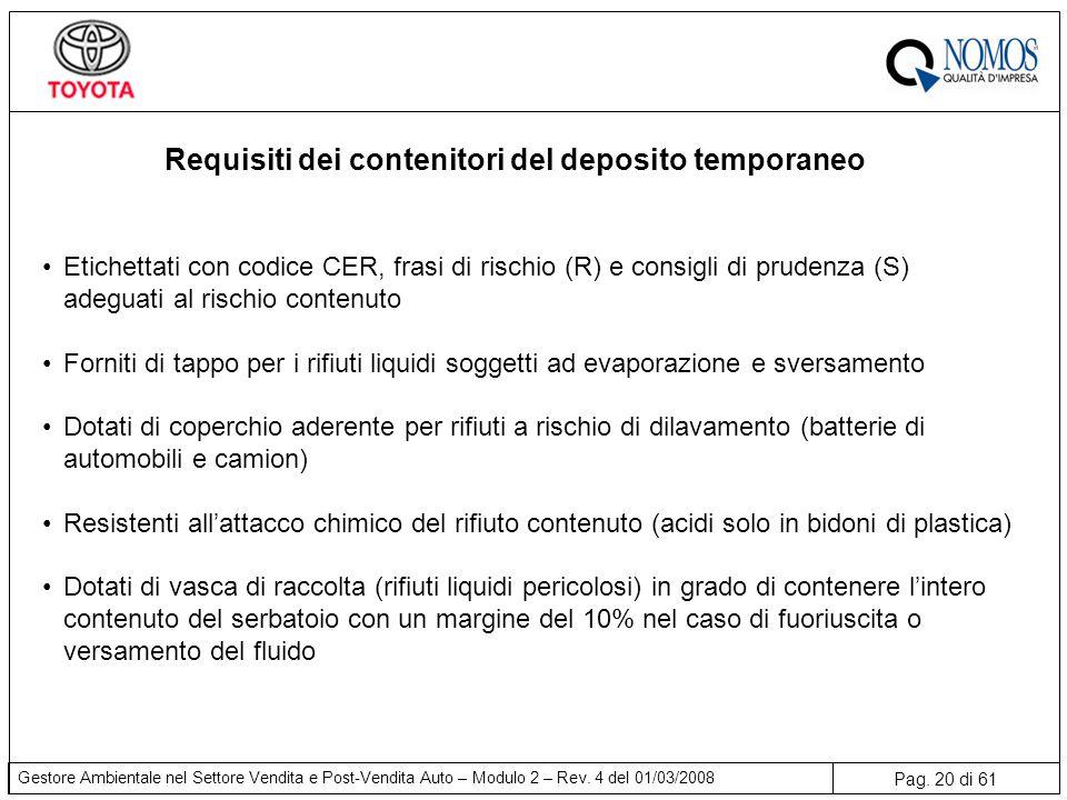 Pag. 20 di 61 Gestore Ambientale nel Settore Vendita e Post-Vendita Auto – Modulo 2 – Rev. 4 del 01/03/2008 Requisiti dei contenitori del deposito tem