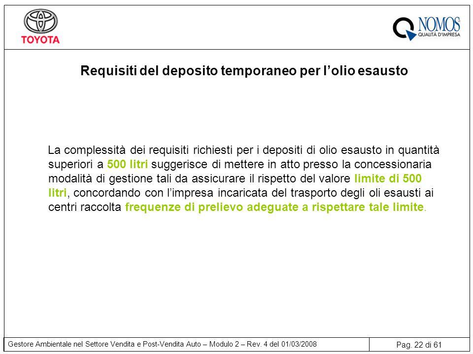 Pag. 22 di 61 Gestore Ambientale nel Settore Vendita e Post-Vendita Auto – Modulo 2 – Rev. 4 del 01/03/2008 Requisiti del deposito temporaneo per l'ol