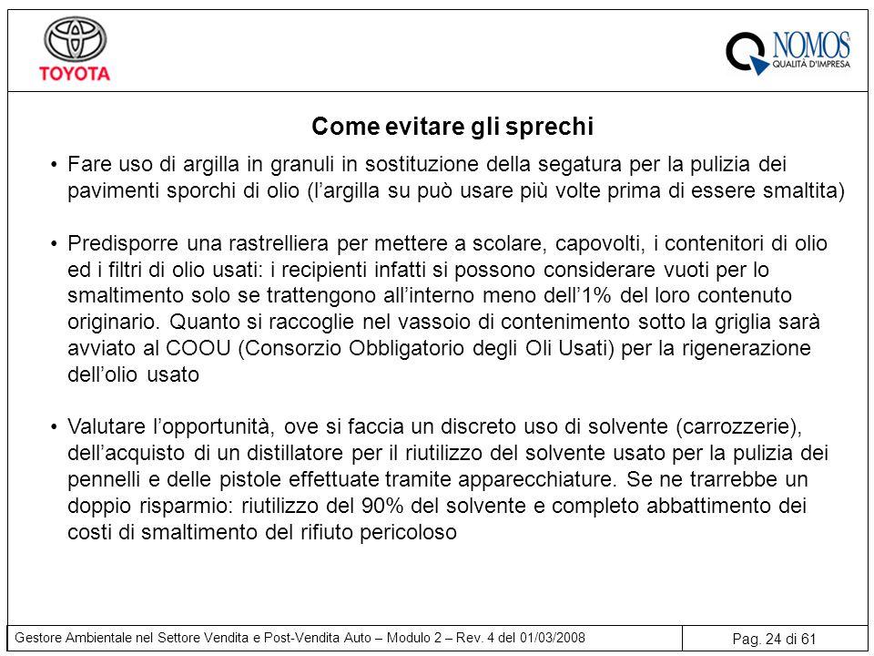 Pag. 24 di 61 Gestore Ambientale nel Settore Vendita e Post-Vendita Auto – Modulo 2 – Rev. 4 del 01/03/2008 Come evitare gli sprechi Fare uso di argil