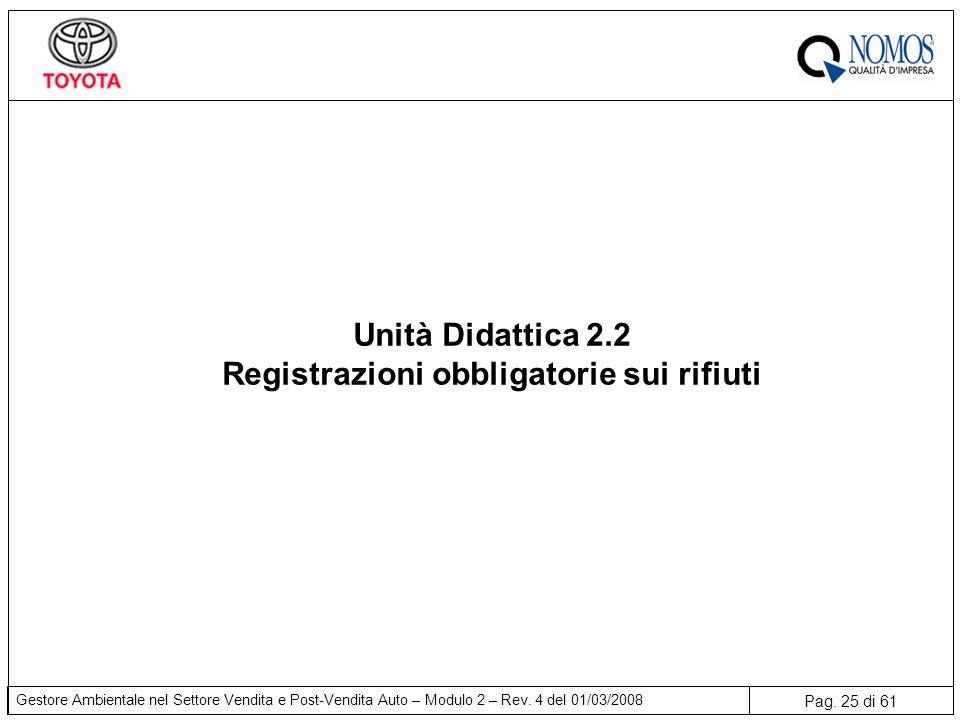 Pag. 25 di 61 Gestore Ambientale nel Settore Vendita e Post-Vendita Auto – Modulo 2 – Rev. 4 del 01/03/2008 Unità Didattica 2.2 Registrazioni obbligat