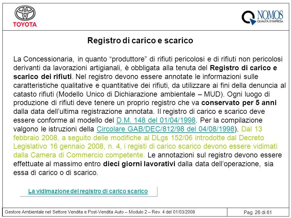 Pag. 26 di 61 Gestore Ambientale nel Settore Vendita e Post-Vendita Auto – Modulo 2 – Rev. 4 del 01/03/2008 Registro di carico e scarico La Concession