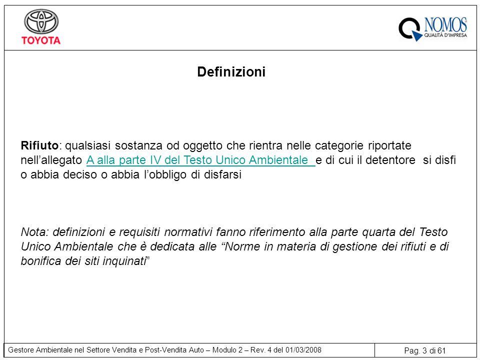 Pag. 3 di 61 Gestore Ambientale nel Settore Vendita e Post-Vendita Auto – Modulo 2 – Rev. 4 del 01/03/2008 Definizioni Rifiuto: qualsiasi sostanza od