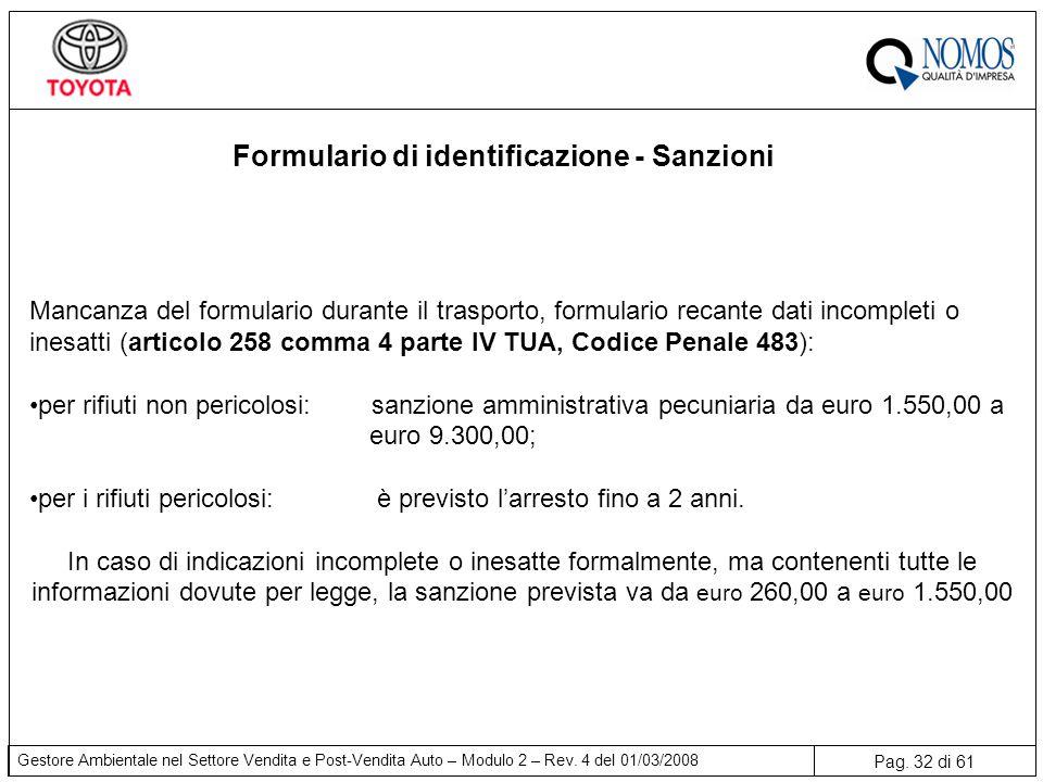 Pag. 32 di 61 Gestore Ambientale nel Settore Vendita e Post-Vendita Auto – Modulo 2 – Rev. 4 del 01/03/2008 Formulario di identificazione - Sanzioni M