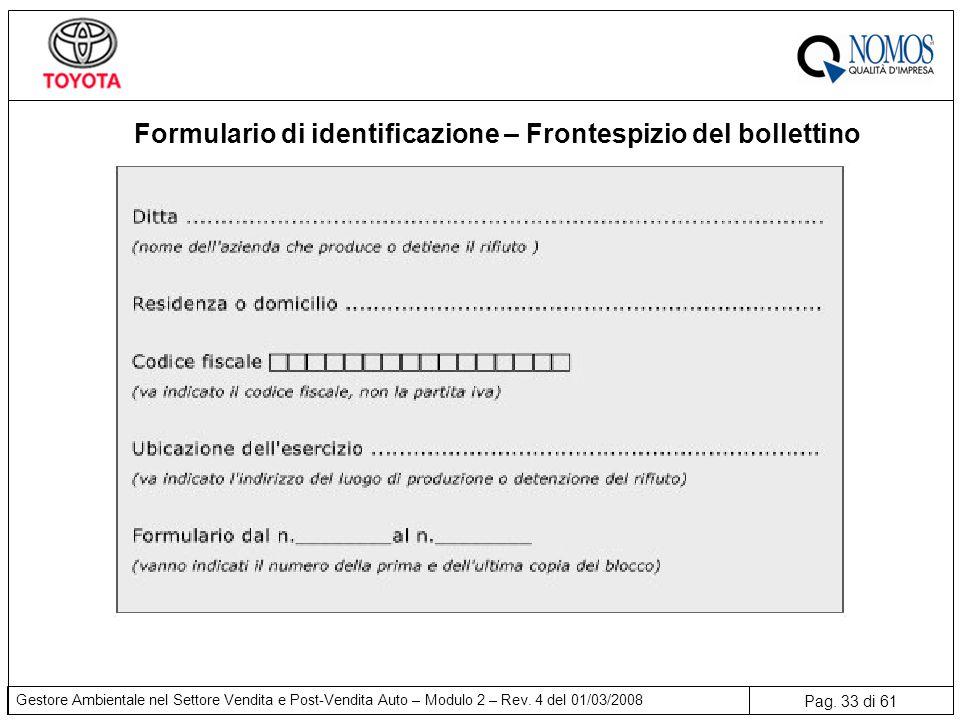 Pag. 33 di 61 Gestore Ambientale nel Settore Vendita e Post-Vendita Auto – Modulo 2 – Rev. 4 del 01/03/2008 Formulario di identificazione – Frontespiz