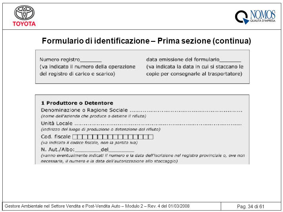 Pag. 34 di 61 Gestore Ambientale nel Settore Vendita e Post-Vendita Auto – Modulo 2 – Rev. 4 del 01/03/2008 Formulario di identificazione – Prima sezi