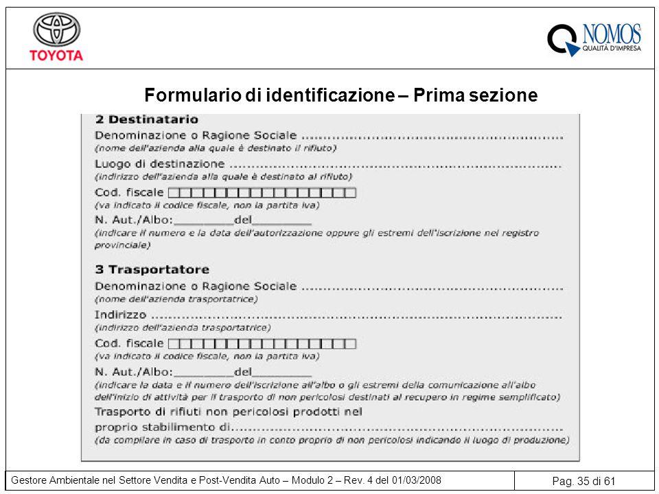Pag. 35 di 61 Gestore Ambientale nel Settore Vendita e Post-Vendita Auto – Modulo 2 – Rev. 4 del 01/03/2008 Formulario di identificazione – Prima sezi