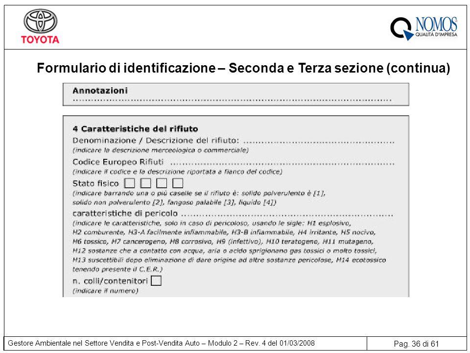 Pag. 36 di 61 Gestore Ambientale nel Settore Vendita e Post-Vendita Auto – Modulo 2 – Rev. 4 del 01/03/2008 Formulario di identificazione – Seconda e
