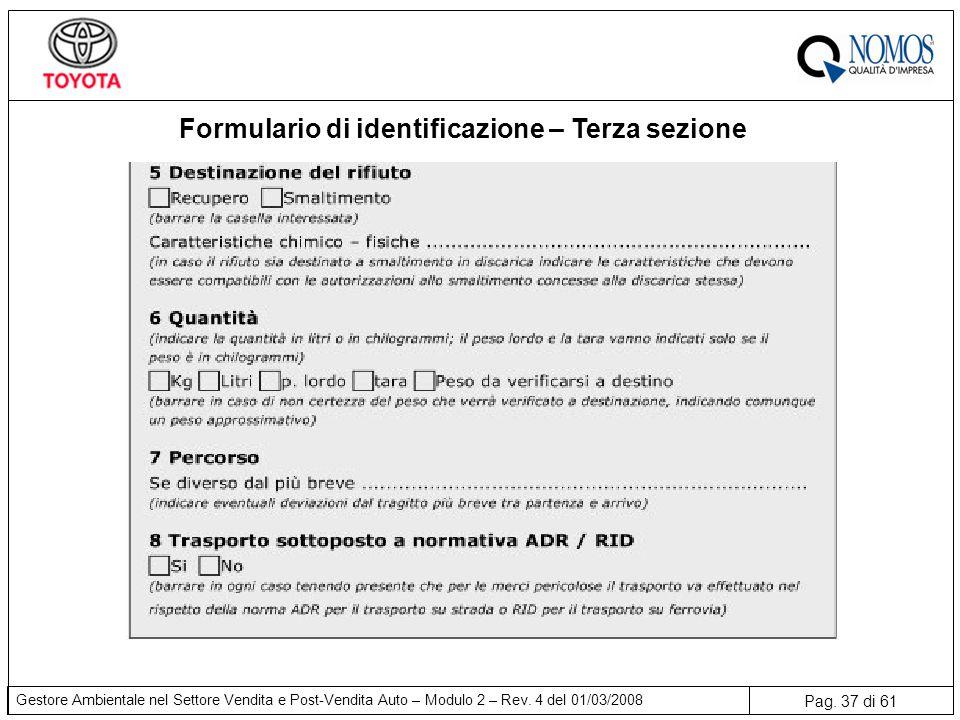 Pag. 37 di 61 Gestore Ambientale nel Settore Vendita e Post-Vendita Auto – Modulo 2 – Rev. 4 del 01/03/2008 Formulario di identificazione – Terza sezi
