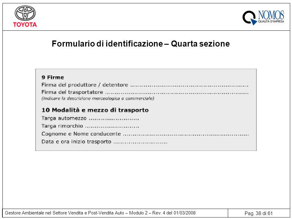 Pag. 38 di 61 Gestore Ambientale nel Settore Vendita e Post-Vendita Auto – Modulo 2 – Rev. 4 del 01/03/2008 Formulario di identificazione – Quarta sez