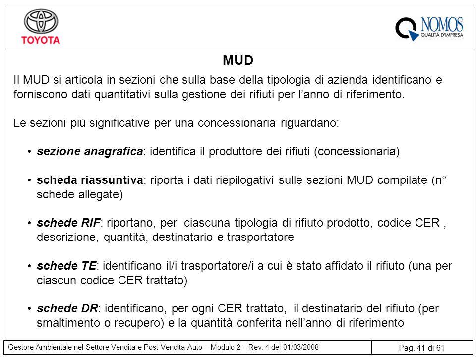 Pag. 41 di 61 Gestore Ambientale nel Settore Vendita e Post-Vendita Auto – Modulo 2 – Rev. 4 del 01/03/2008 MUD Il MUD si articola in sezioni che sull