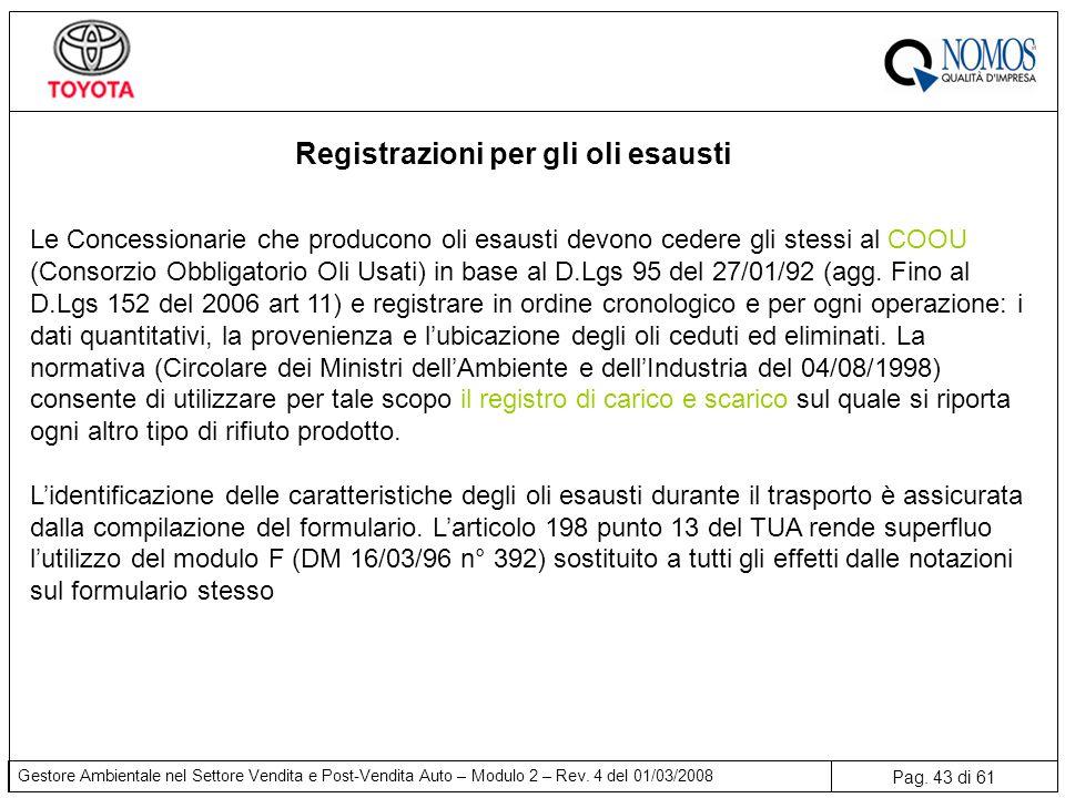 Pag. 43 di 61 Gestore Ambientale nel Settore Vendita e Post-Vendita Auto – Modulo 2 – Rev. 4 del 01/03/2008 Registrazioni per gli oli esausti Le Conce