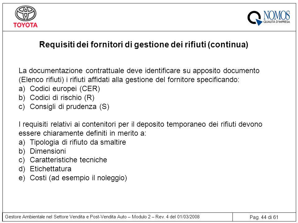 Pag. 44 di 61 Gestore Ambientale nel Settore Vendita e Post-Vendita Auto – Modulo 2 – Rev. 4 del 01/03/2008 Requisiti dei fornitori di gestione dei ri