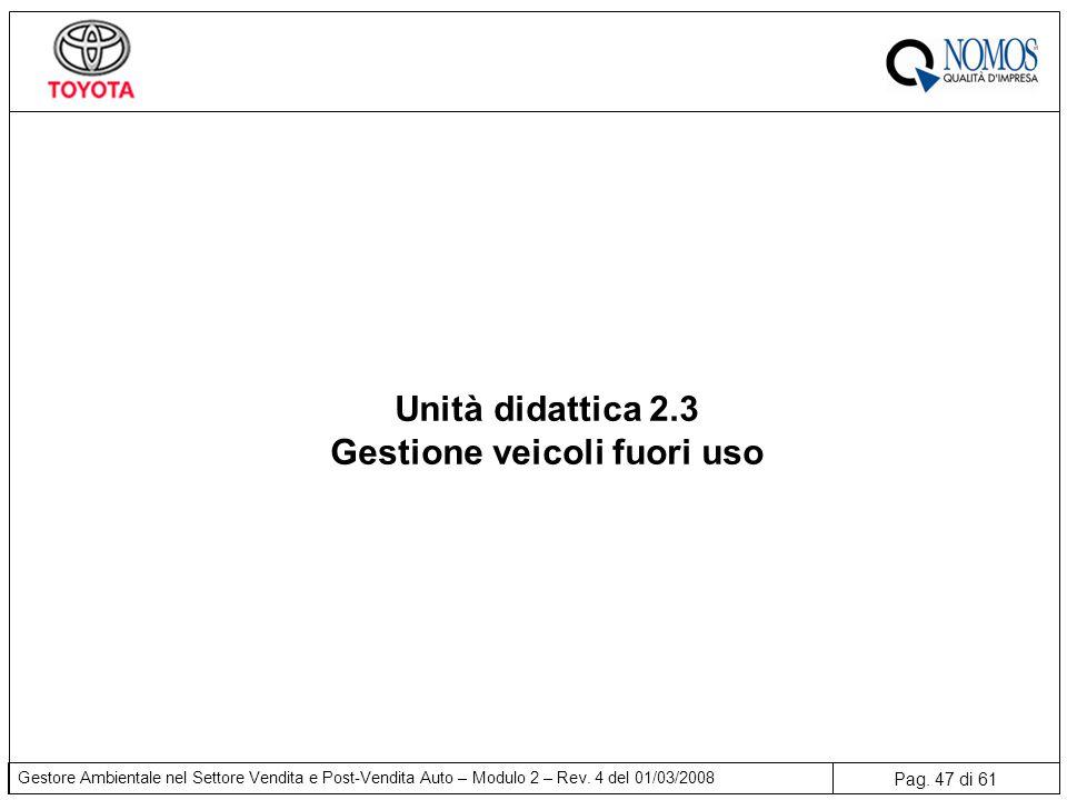 Pag. 47 di 61 Gestore Ambientale nel Settore Vendita e Post-Vendita Auto – Modulo 2 – Rev. 4 del 01/03/2008 Unità didattica 2.3 Gestione veicoli fuori