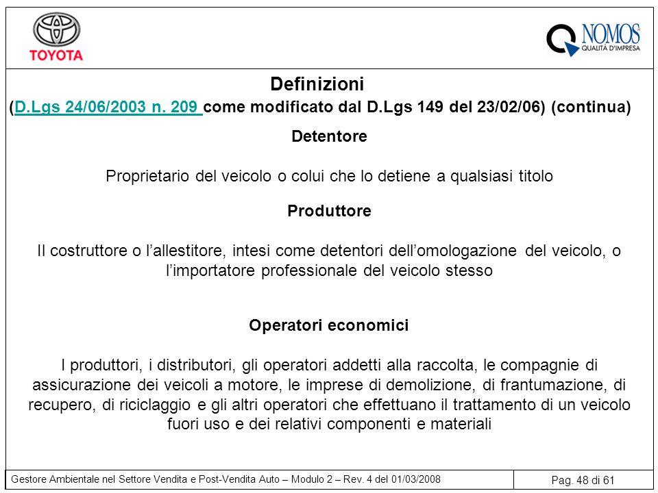 Pag. 48 di 61 Gestore Ambientale nel Settore Vendita e Post-Vendita Auto – Modulo 2 – Rev. 4 del 01/03/2008 Detentore Proprietario del veicolo o colui