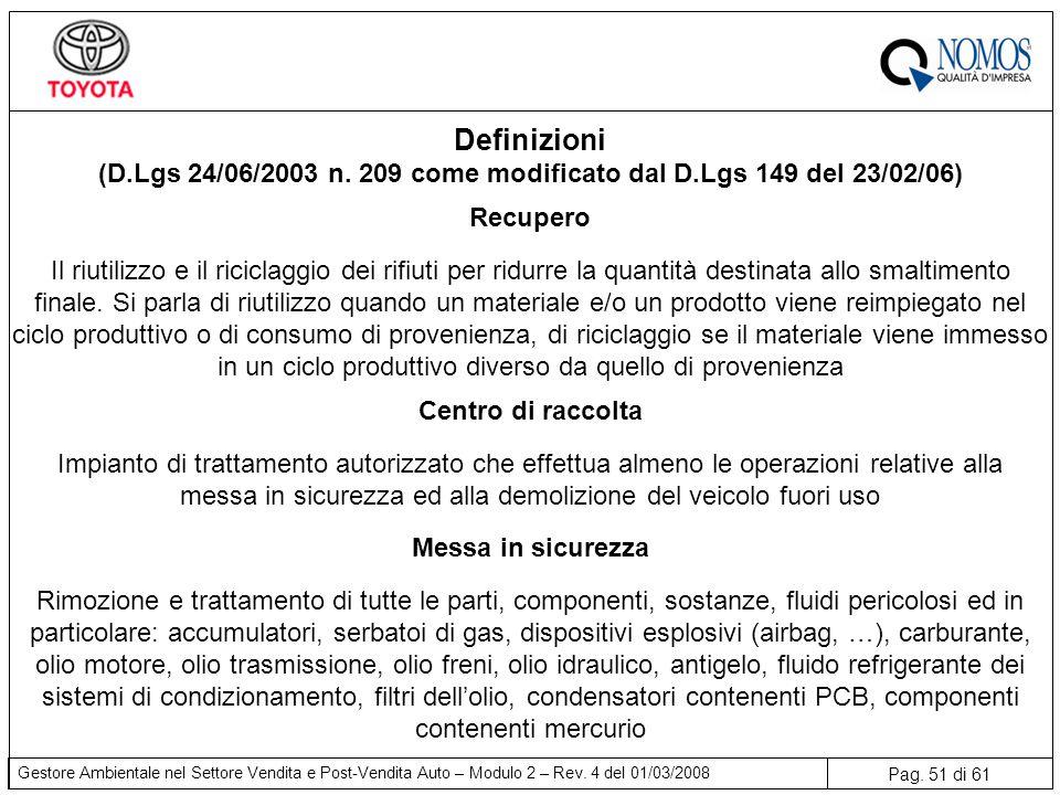 Pag. 51 di 61 Gestore Ambientale nel Settore Vendita e Post-Vendita Auto – Modulo 2 – Rev. 4 del 01/03/2008 Recupero Il riutilizzo e il riciclaggio de