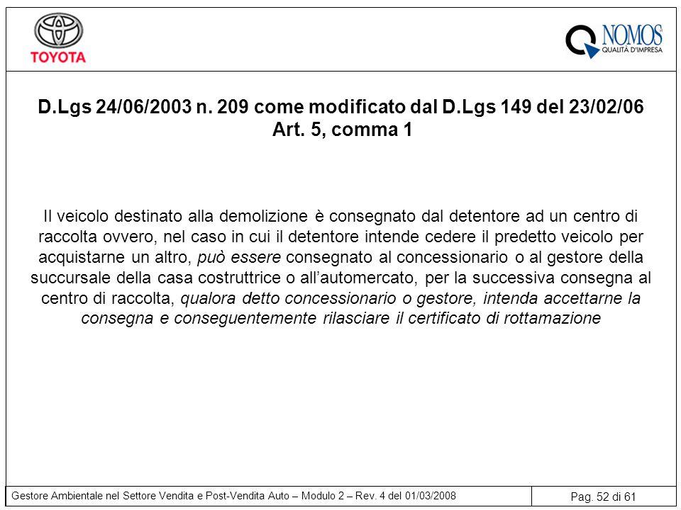 Pag. 52 di 61 Gestore Ambientale nel Settore Vendita e Post-Vendita Auto – Modulo 2 – Rev. 4 del 01/03/2008 Il veicolo destinato alla demolizione è co
