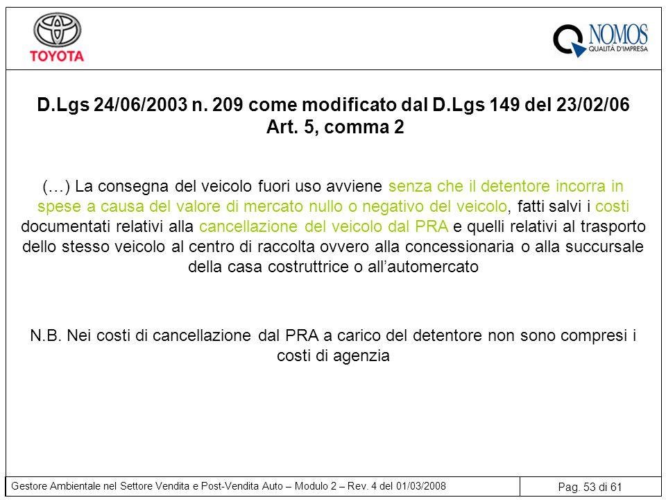 Pag. 53 di 61 Gestore Ambientale nel Settore Vendita e Post-Vendita Auto – Modulo 2 – Rev. 4 del 01/03/2008 (…) La consegna del veicolo fuori uso avvi