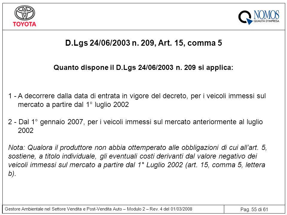 Pag. 55 di 61 Gestore Ambientale nel Settore Vendita e Post-Vendita Auto – Modulo 2 – Rev. 4 del 01/03/2008 1 - A decorrere dalla data di entrata in v