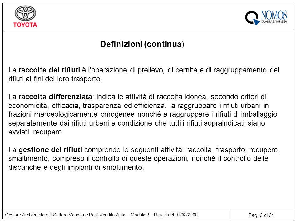 Pag. 6 di 61 Gestore Ambientale nel Settore Vendita e Post-Vendita Auto – Modulo 2 – Rev. 4 del 01/03/2008 Definizioni (continua) La raccolta dei rifi