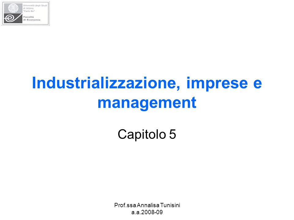 Prof.ssa Annalisa Tunisini a.a.2008-09 Industrializzazione, imprese e management Capitolo 5