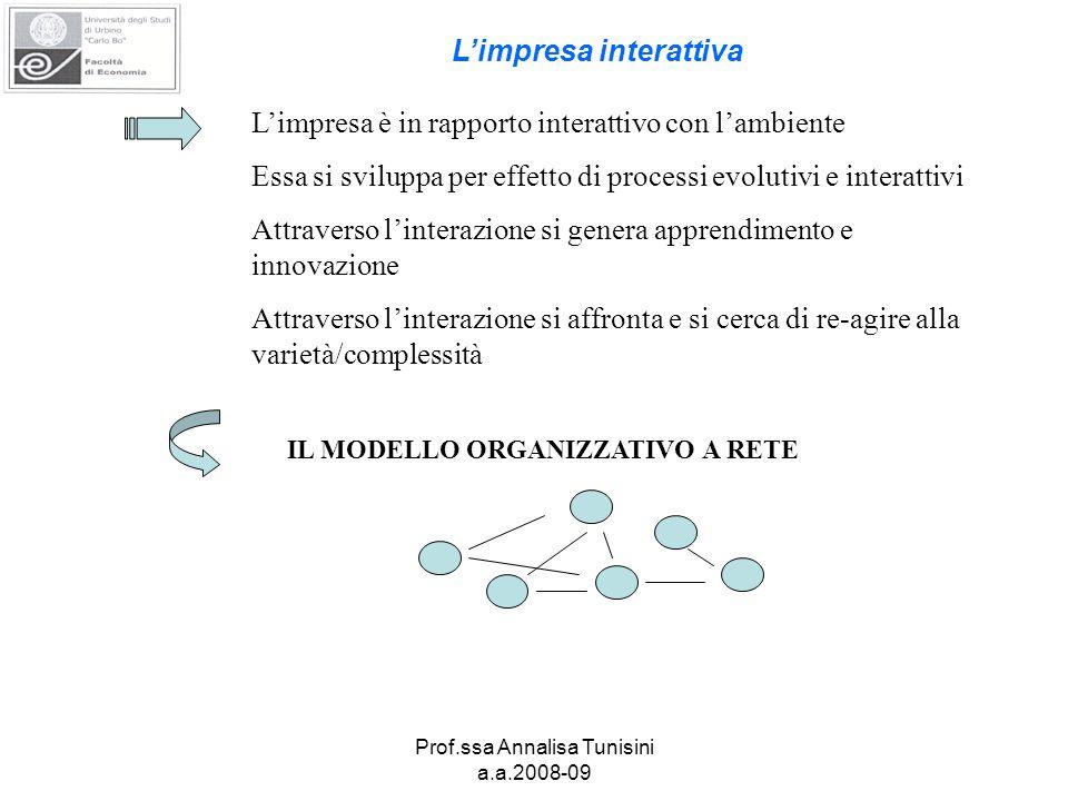 Prof.ssa Annalisa Tunisini a.a.2008-09 L'impresa è in rapporto interattivo con l'ambiente Essa si sviluppa per effetto di processi evolutivi e interattivi Attraverso l'interazione si genera apprendimento e innovazione Attraverso l'interazione si affronta e si cerca di re-agire alla varietà/complessità IL MODELLO ORGANIZZATIVO A RETE L'impresa interattiva