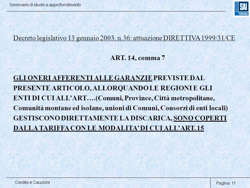 Pagina: 11 Credito e Cauzioni Seminario di studio e approfondimento Decreto legislativo 13 gennaio 2003, n.36: attuazione DIRETTIVA 1999/31/CE ART. 14