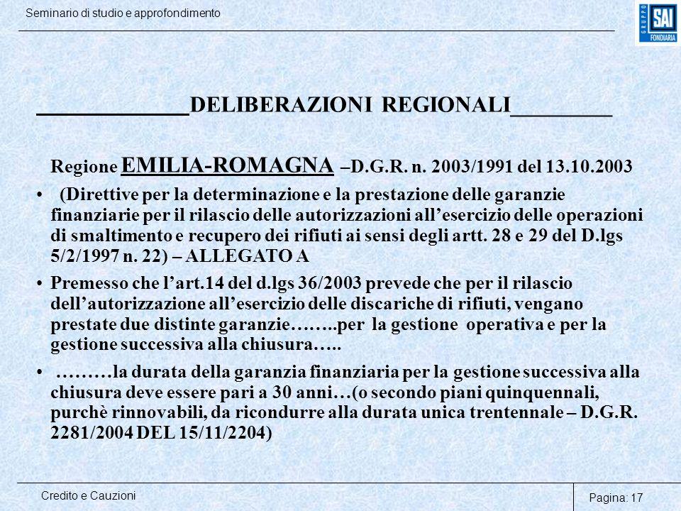 Pagina: 17 Credito e Cauzioni Seminario di studio e approfondimento DELIBERAZIONI REGIONALI_________ Regione EMILIA-ROMAGNA –D.G.R. n. 2003/1991 del 1