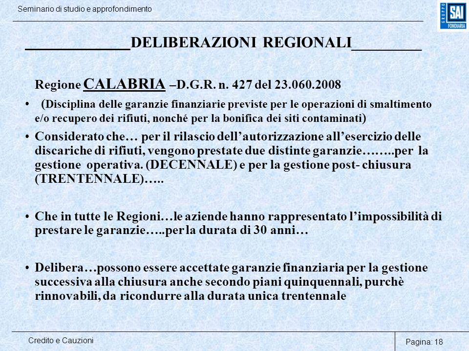 Pagina: 18 Credito e Cauzioni Seminario di studio e approfondimento DELIBERAZIONI REGIONALI_________ Regione CALABRIA –D.G.R. n. 427 del 23.060.2008 (