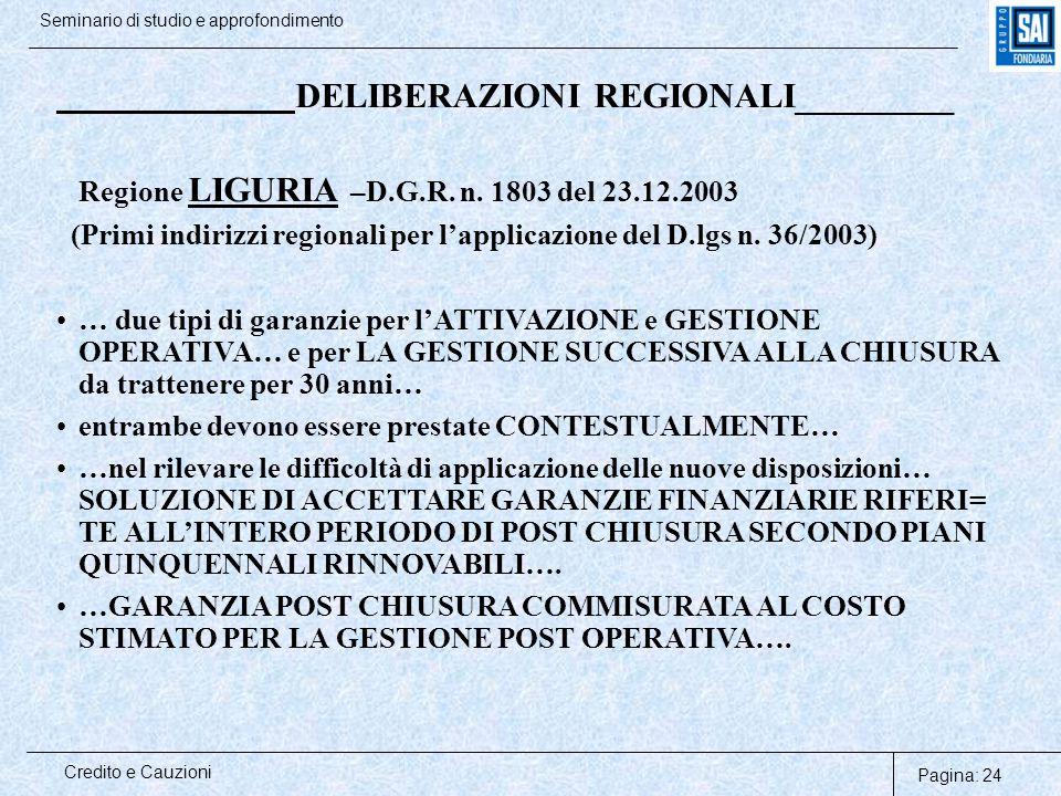 Pagina: 24 Credito e Cauzioni Seminario di studio e approfondimento DELIBERAZIONI REGIONALI_________ Regione LIGURIA –D.G.R. n. 1803 del 23.12.2003 (P