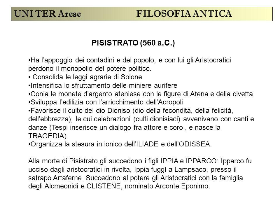 UNI TER Arese FILOSOFIA ANTICA PISISTRATO (560 a.C.) Ha l'appoggio dei contadini e del popolo, e con lui gli Aristocratici perdono il monopolio del po