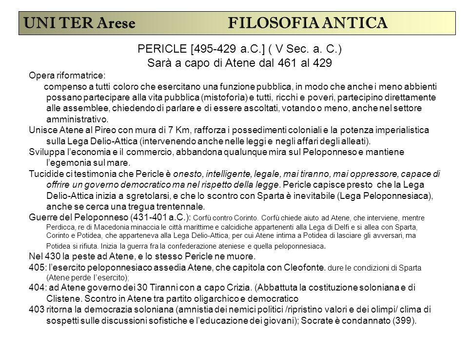 UNI TER Arese FILOSOFIA ANTICA PERICLE [495-429 a.C.] ( V Sec. a. C.) Sarà a capo di Atene dal 461 al 429 Opera riformatrice: compenso a tutti coloro