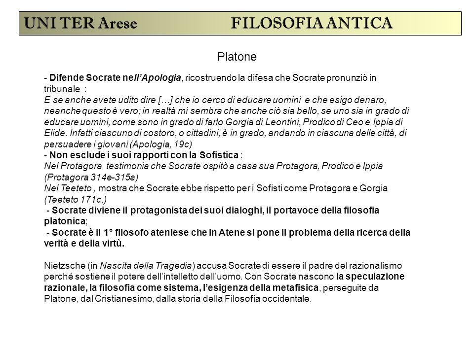 UNI TER Arese FILOSOFIA ANTICA Platone - Difende Socrate nell'Apologia, ricostruendo la difesa che Socrate pronunziò in tribunale : E se anche avete u
