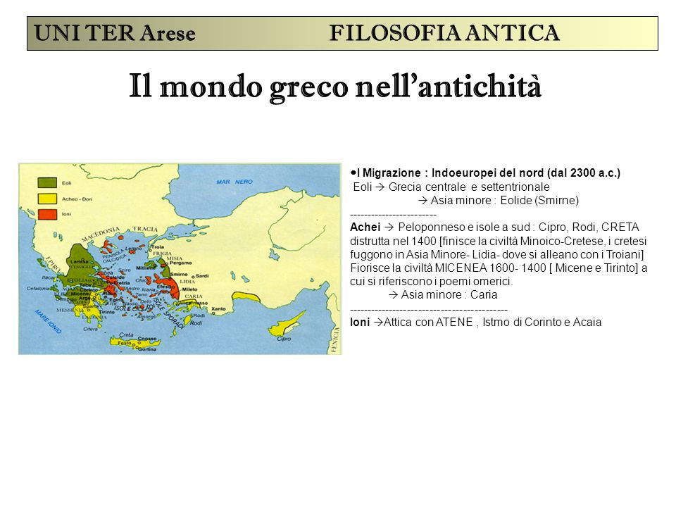 Il mondo greco nell'antichità UNI TER Arese FILOSOFIA ANTICA I Migrazione : Indoeuropei del nord (dal 2300 a.c.) Eoli  Grecia centrale e settentriona