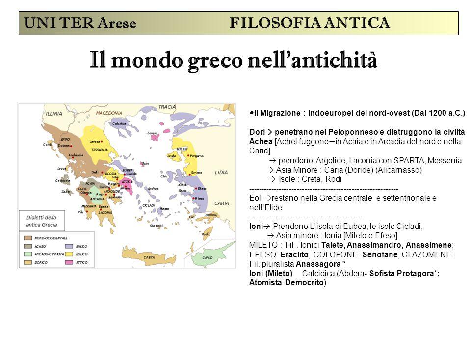 Il mondo greco nell'antichità UNI TER Arese FILOSOFIA ANTICA II Migrazione : Indoeuropei del nord-ovest (Dal 1200 a.C.) Dori  penetrano nel Peloponne