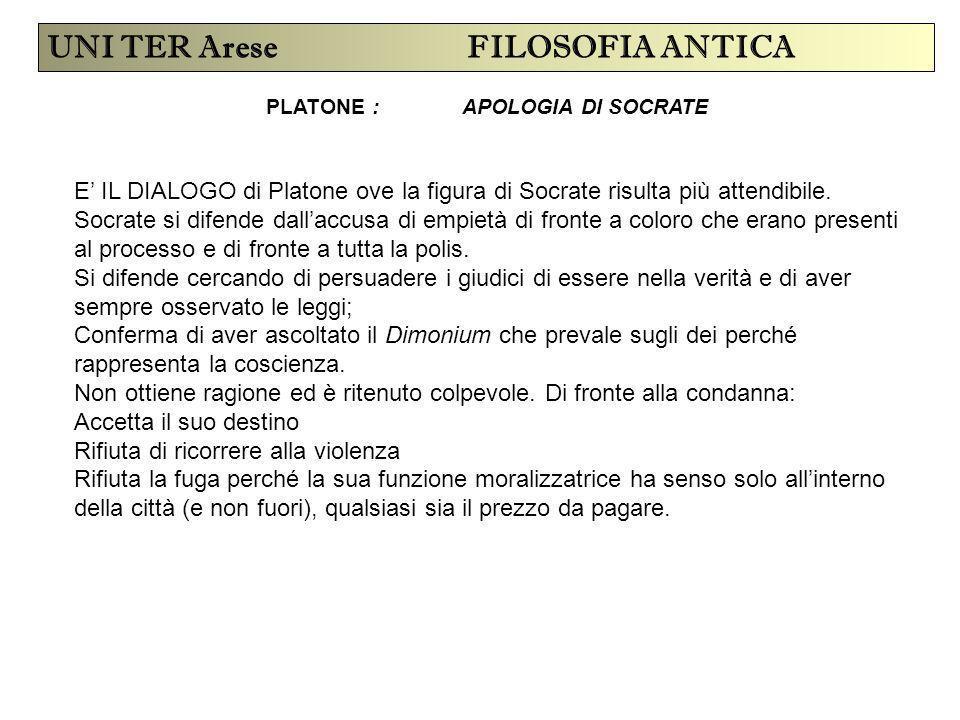 PLATONE : APOLOGIA DI SOCRATE UNI TER Arese FILOSOFIA ANTICA E' IL DIALOGO di Platone ove la figura di Socrate risulta più attendibile. Socrate si dif