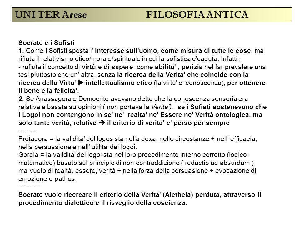 UNI TER Arese FILOSOFIA ANTICA Socrate e i Sofisti 1. Come i Sofisti sposta l' interesse sull'uomo, come misura di tutte le cose, ma rifiuta il relati