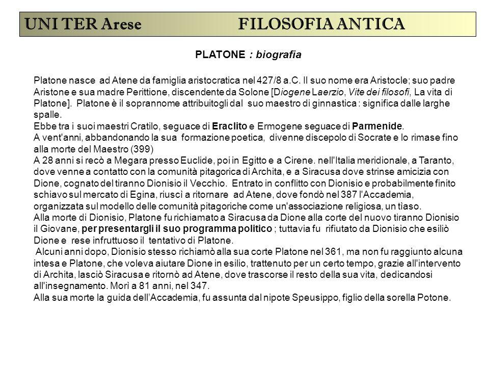 PLATONE : biografia UNI TER Arese FILOSOFIA ANTICA Platone nasce ad Atene da famiglia aristocratica nel 427/8 a.C. Il suo nome era Aristocle; suo padr