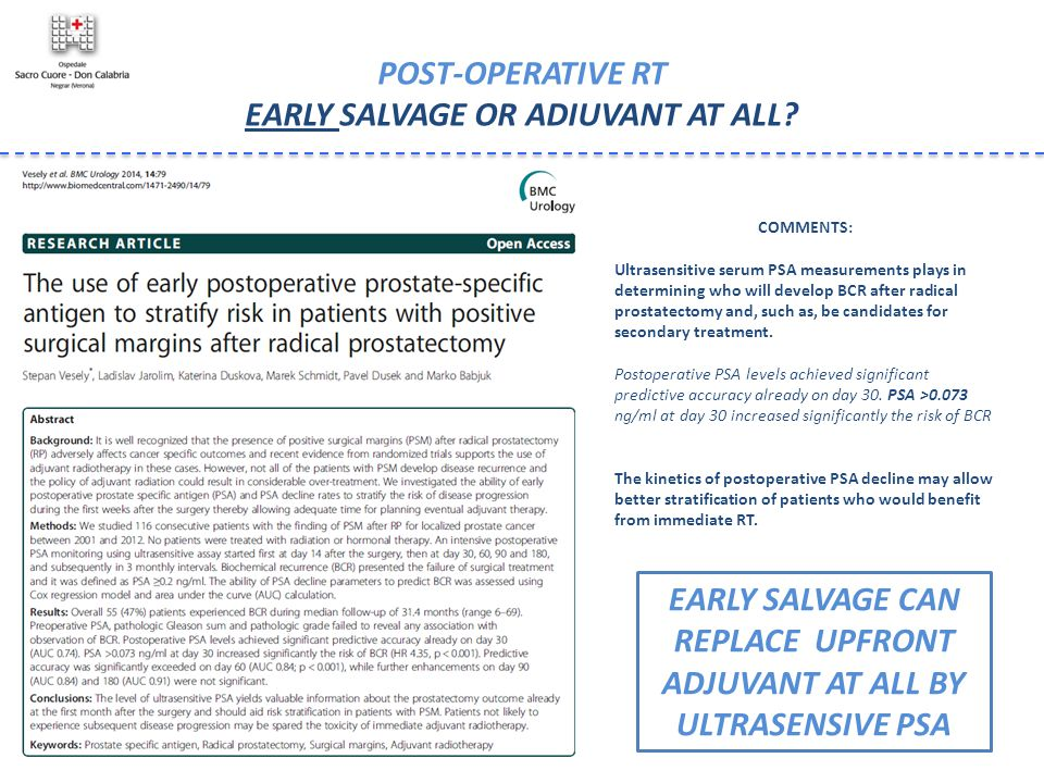 POST-OPERATIVE RT EARLY SALVAGE OR ADIUVANT AT ALL? EARLY SALVAGE CAN REPLACE UPFRONT ADJUVANT AT ALL BY ULTRASENSIVE PSA COMMENTS: Ultrasensitive ser