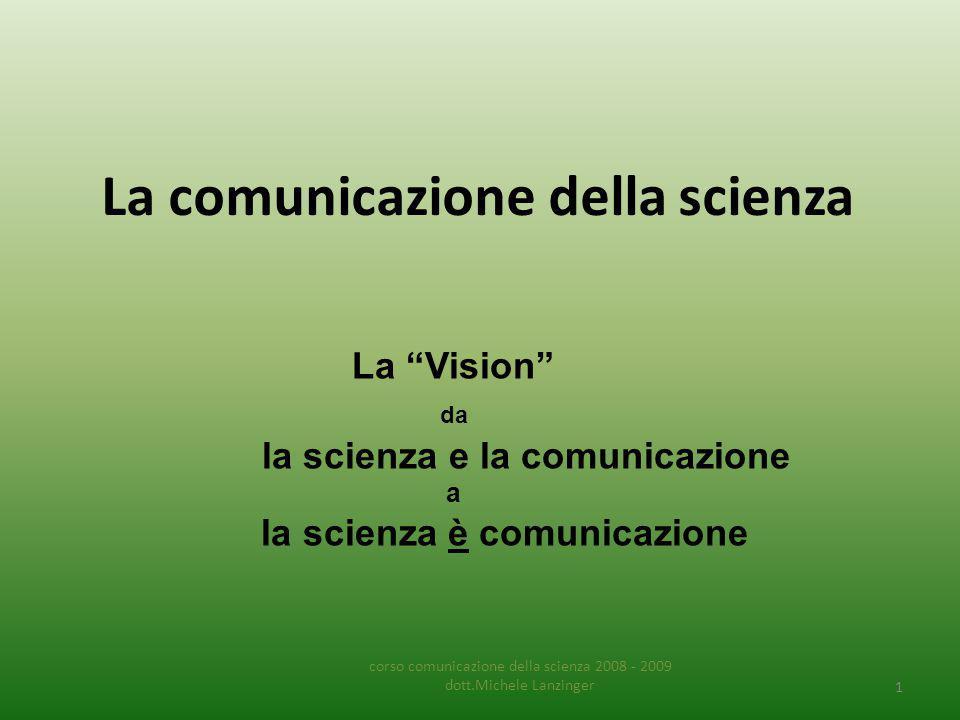 La comunicazione della scienza corso comunicazione della scienza 2008 - 2009 dott.Michele Lanzinger 1 La Vision da la scienza e la comunicazione a la scienza è comunicazione